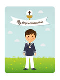 First communion child foreground invitation with message. On blue sky background Stock Images