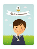 First communion child foreground invitation with message. On blue sky background Stock Photography