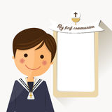 First communion child foreground with message. Illustration Stock Photos