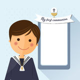 First communion child foreground on square background. First communion child foreground on blue square background Royalty Free Stock Images