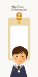 First communion child foreground on vertical card and blue sky background. First communion child foreground on vertical card illustration Royalty Free Stock Images