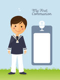 First communion child on vertical card. Illustration Stock Images