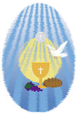 The First Communion, or First Holy Communion. First Holy Communion, is a ceremony held in the Latin Church tradition of the Catholic Church. It is the colloquial Royalty Free Stock Photos