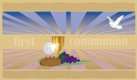 The First Communion, or First Holy Communion. First Holy Communion, is a ceremony held in the Latin Church tradition of the Catholic Church. It is the colloquial Royalty Free Stock Image