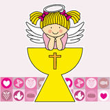 First Communion girl. First communion card. Angel in the holy grail. Girl Royalty Free Stock Photography