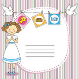 First Communion girl. First Communion Invitation Card. Girl Royalty Free Stock Photos