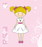 First Communion girl. Invitation Card Royalty Free Stock Image