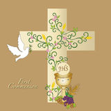 First communion. Illustration for first communion with cross, dove and chalice Royalty Free Stock Photography