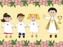 First communion. Illustration for first communion with priest Royalty Free Stock Photo