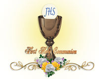 First Communion Invitation. Image and illustration composition for First Holy Communion Invitation Border or frame with gold chalice, Host, flowers, text and Royalty Free Stock Photography