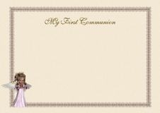 First Communion invitation. An elegant cream first communion invitation, with a lace frame, a glittering gold writing and a beautiful and delicate angel praying Royalty Free Stock Images