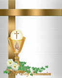 First Communion Invitation. Image and illustration composition for First Holy Communion Invitation Border or frame with gold chalice Host flowers text and copy Stock Image