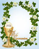 First Communion Invitation. Image and illustration composition for First Holy Communion Invitation Border or frame  for boy, with gold text and copy space Stock Images