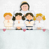 First communion invitation angel and children Royalty Free Stock Photos