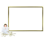 First Communion Invitation Angel photo frame. First Communion Invitation Angel, golden photo frame isolated on white background and copy space for writing text Stock Photo