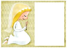 First Communion invitation with blond girl Stock Photos