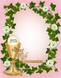 First Communion Invitation Border. Image and illustration composition for First Holy Communion Invitation Border or frame  for girl, with gold text and copy Stock Image