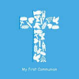 First Communion Invitation Card. Religion icons Royalty Free Stock Images