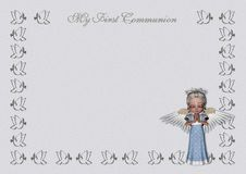 First Communion invitation/menu. An elegant light blue/grey first communion invitation, with a frame made of doves, a glittering silver writing and a beautiful Stock Images
