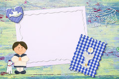 First  Communion invitation sailor boy Stock Photography
