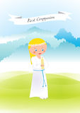 First communion. My first communion - girl in a white rope Royalty Free Stock Photography