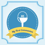 First communion. Over blue background vector illustration Stock Photos
