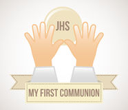 First communion. Over white background vector illustration Stock Images