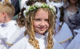 First Communion portrait Stock Images