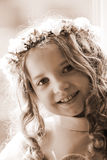 First Communion - portrait sepia Royalty Free Stock Photography