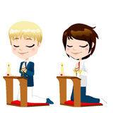 First Communion Prayer Boys Royalty Free Stock Images