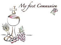 First communion religion card Royalty Free Stock Image