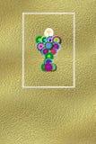First communion reminder invitation gold. First communion reminder gold with space for message and name of children vector illustration