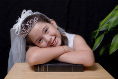 First Communion. Portrait of a young girl at First Communion Royalty Free Stock Photo