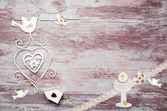 First Communion wooden background Stock Image