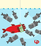 First among competitors. Money on a hook. Fish and money. hand i Royalty Free Stock Photo