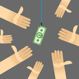 First among competitors. Money on a hook. Hand is holding the money. Hands are drawn to money. Business illustration Royalty Free Stock Image