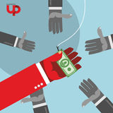 First among competitors. Money on a hook. Hand is holding the money. Hands are drawn to money. Business illustration Stock Images