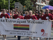 First Congregational Church Members walking at Indy Pride stock images