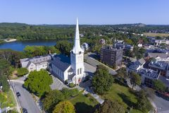 First Congregational Church, Winchester, MA, USA. First Congregational Church at Winchester Center Historic District in downtown Winchester, Massachusetts, USA stock photo