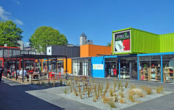 The first Container Shops to Be Built Following Christchuch Eart stock photos