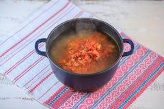 First course, soup borsch Stock Image