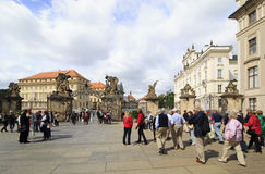 First courtyard and gates of the Giants to the Prague Castle. First courtyard and gates of the Giants Stock Image