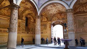 First courtyard of Palazzo Vecchio, Florence, Tuscany, Italy. The first courtyard was designed in 1453 by Michelozzo stock photos