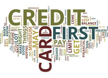First Credit Card Text Background  Word Cloud Concept Royalty Free Stock Photo