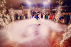 First dance bride in a restaurant.  Royalty Free Stock Images
