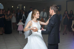 The first dance of gentle stylish happy  blonde bride and groom Stock Photo