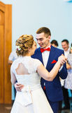 The first dance of gentle stylish happy   bride and groom Royalty Free Stock Photos