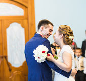 The first dance of gentle stylish happy   bride and groom Royalty Free Stock Images