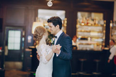 First dance hd. Bride and groom dancing at the restaurant first dance Royalty Free Stock Photos