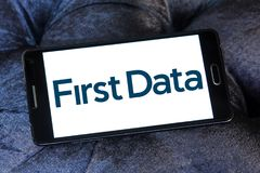 First Data Corporation logo. Logo of First Data Corporation on samsung mobile. First Data is a global leader in commerce enabling technology that helps simplify Royalty Free Stock Photo